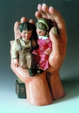 Childs in the hand of God, wooden blank